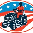 American Gardener Mowing Lawn Mower Retro — Stockvector
