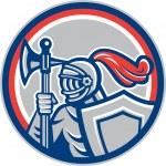 Knight Full Armor Battle Axe Retro — Stock Vector