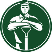 Paisajista del jardinero retro pala frontal — Vector de stock