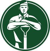 Gardener Landscaper Shovel Front Retro — 图库矢量图片