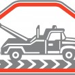 Tow Wrecker Truck Side Retro — Stock Vector