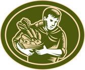 Agricultor orgánico cosecha grabado en madera — Vector de stock