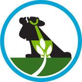 Agricultor orgánico pala planta círculo — Vector de stock