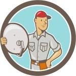 Cable TV Installer Guy Cartoon — Stock Vector #42181199