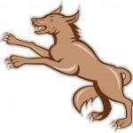 Wolf Wild Dog on Hind Legs Cartoon — Stock Vector #42181581