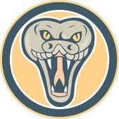 Rattle Snake Head Front Retro — Stock Vector
