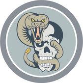 Rattle Snake Curling Around Skull Cartoon — Stock Vector