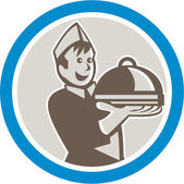 Waiter serving platter of food — Stock Vector