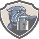 Bulldog Dog Mongrel Padlock Shield — Stock Vector #42628667