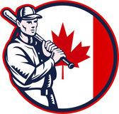 Canadian Baseball Batter Canada Flag Circle — Stock Vector