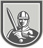 Crusader Knight With Sword Front Crest — Stock Vector