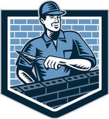 Brick Layer Mason Masonry Worker Retro — Vetorial Stock