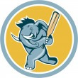 Elephant Batting Cricket Bat Cartoon — Stock Vector