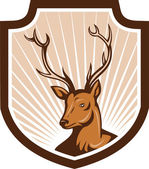 Deer Stag Buck Antler Head Shield — Stock Vector