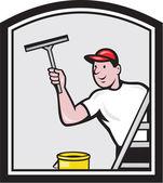 Window Washer Cleaner Cartoon — Stock Vector