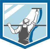 Window Cleaner Washer Worker Shield Retro — Stock Vector