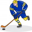 Ice Hockey Player Side With Stick Cartoon — Stock Vector