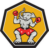 Elephant Mascot Boxer Cartoon — Vetorial Stock