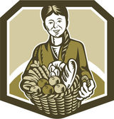 Female Organic Farmer Crop Harvest Woodcut — Stockvector