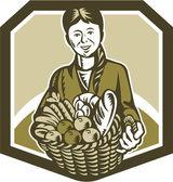 Hembra agricultor orgánico cosecha grabado en madera — Vector de stock