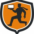 Computer Technician Carrying Laptop Running Shield — Vector de stock