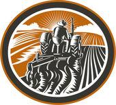 Farmer Driving Tractor Plowing Field Retro — Stock Vector