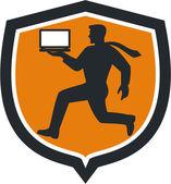 Computer Technician Carrying Laptop Running Shield — Stock Vector