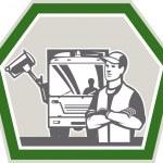 Garbage Collector Rubbish Truck Retro — Stock Vector #44064323