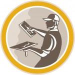 Plasterer Masonry Worker Trowel Retro — Stock Vector #44065035