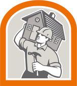 Carpenter Builder Carrying House Retro — Stock Vector