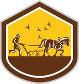 Farmer and Horse Plowing Field Shield Retro — Stock Vector