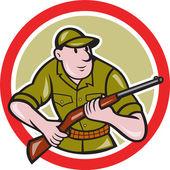 Hunter Carrying Rifle Circle Cartoon — Stock Vector