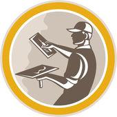 Plasterer Masonry Worker Trowel Retro — Stock Vector