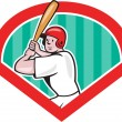 Baseball Player Batting Diamond Cartoon — Stock Vector