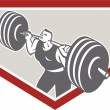 Weightlifter Lifting Barbell Shield Retro — Stock Vector #44513239