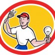 Electrician Holding Electric Plug and Bulb Cartoon — Vettoriale Stock  #44513289
