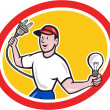 Electrician Holding Electric Plug and Bulb Cartoon — Vecteur #44513289
