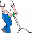 Gardener Mowing Lawn Cartoon — Vettoriale Stock  #44513413