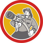 Fireman Firefighter Aiming Fire Hose Circle — Stock Vector