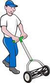 Gardener Mowing Lawn Cartoon — Stock Vector