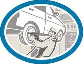 Mechanic Changing Car Tire Repair Retro — Stock Vector