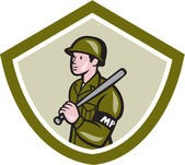 Military Police With Night Stick Baton Shield — Stock Vector