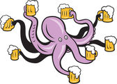 Octopus Holding Mug of Beer Tentacles  — Stock Vector