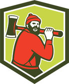 Paul Bunyan LumberJack Carrying Axe — Stock Vector