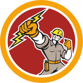 Electrician Wielding Lightning Bolt Circle Retro — Stock Vector