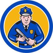 Policeman With Night Stick Baton Circle — Stock Vector