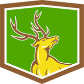 Stag Deer Looking Up Shield Cartoon — Stock Vector