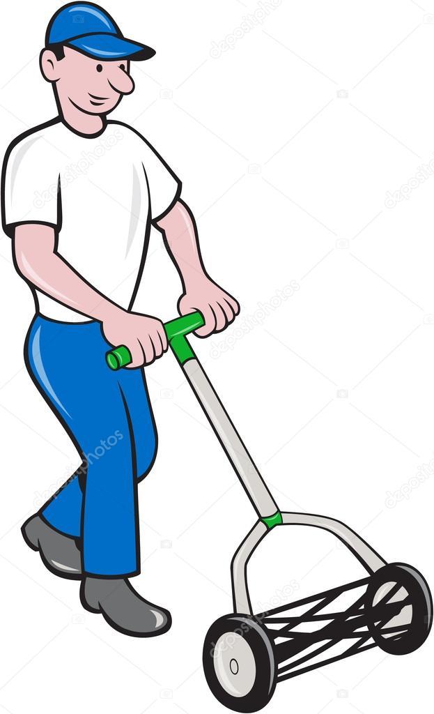 Caricature de pelouse tonte jardinier image vectorielle for Tarif de tonte de pelouse