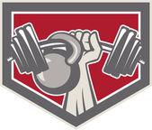 Mão barbell levantamento e escudo de kettlebell — Vetor de Stock