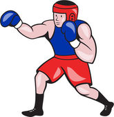 Amateur Boxer Boxing Cartoon — Stock Vector